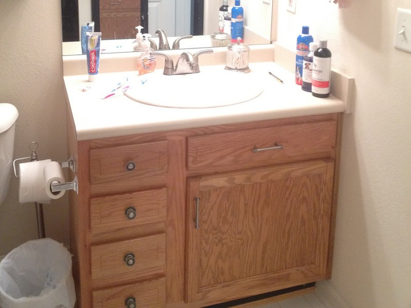 Oak Bathroom Vanity Makeover