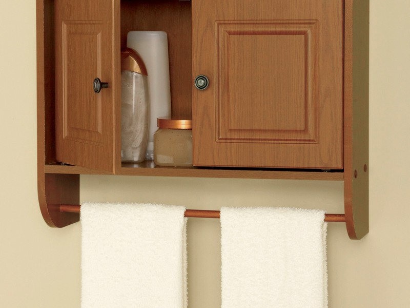 Oak Bathroom Wall Cabinets With Towel Bar