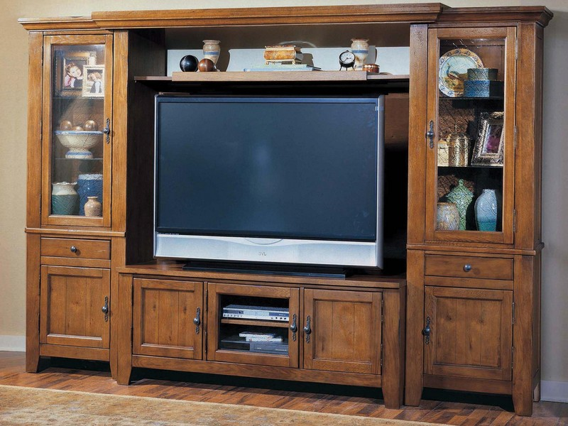 Oak Entertainment Centers Wall Units