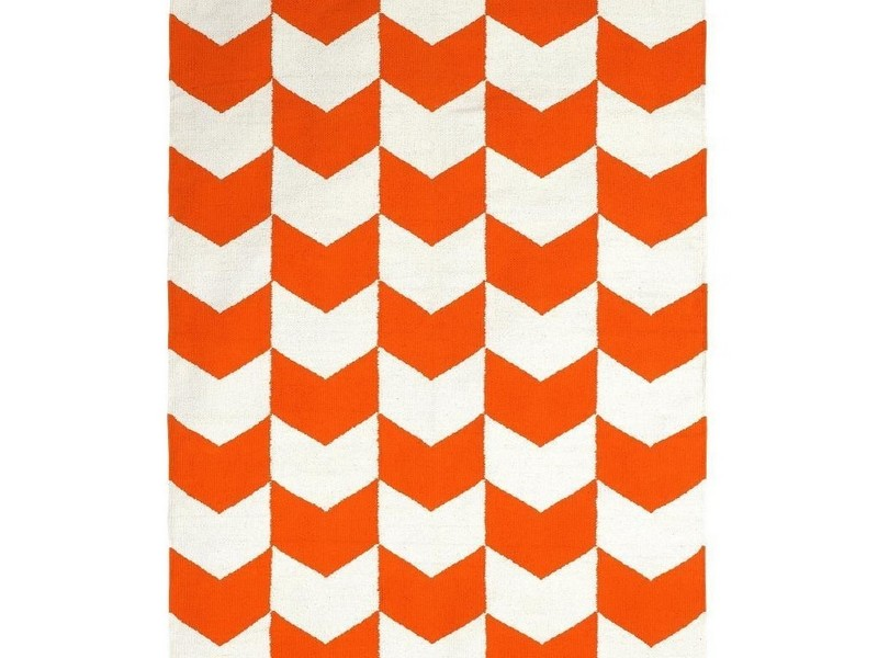 Orange And White Chevron Rug