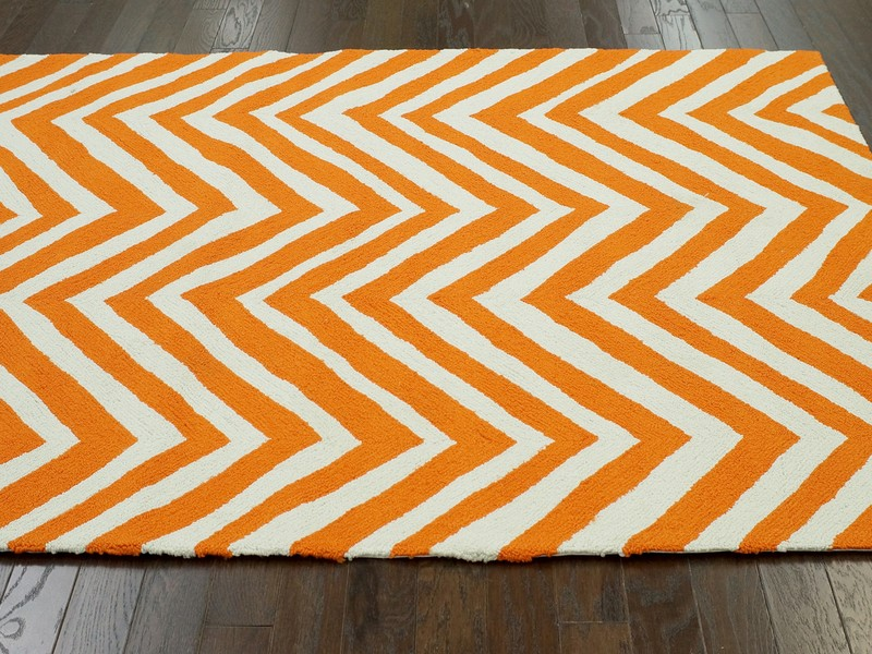 Orange Chevron Rug 8x10
