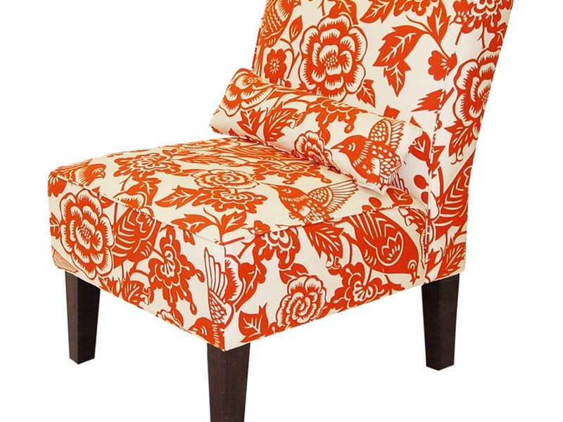 Orange Patterned Accent Chair