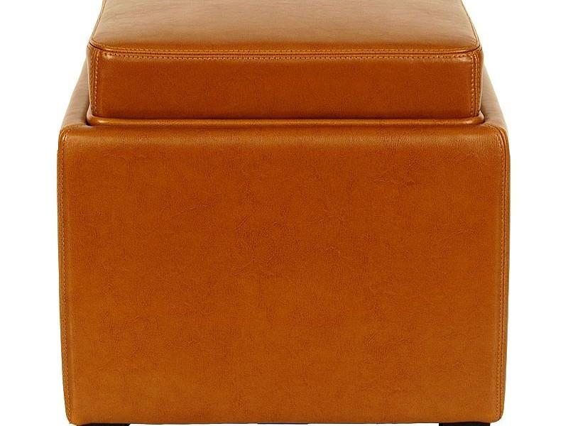Orange Storage Ottoman With Tray