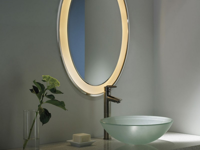 Oval Illuminated Bathroom Mirror