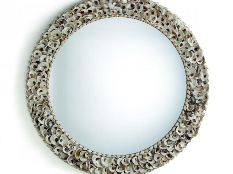 Oyster Shell Mirror Round