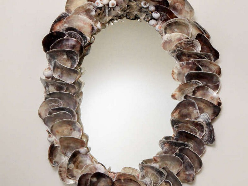 Oyster Shell Mirror Wisteria
