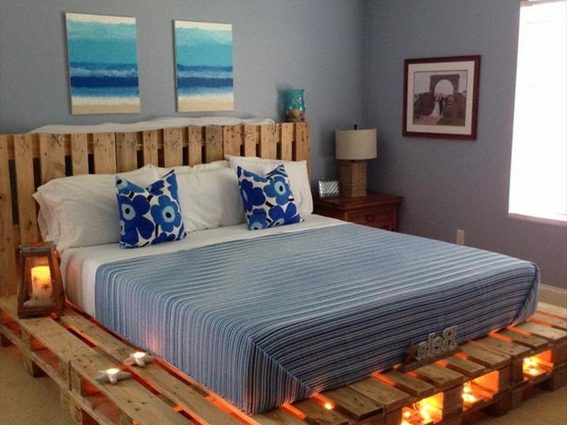 Pallet Platform Bed With Lights