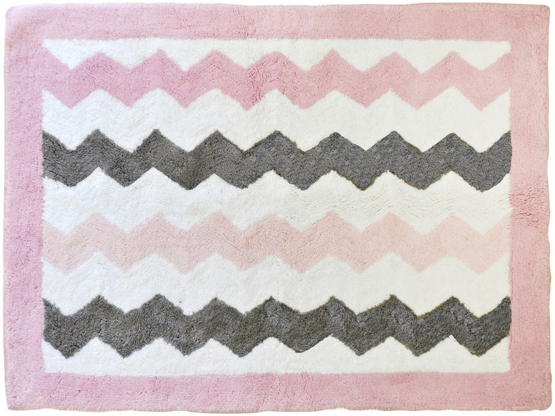 Pink And Gray Chevron Rug