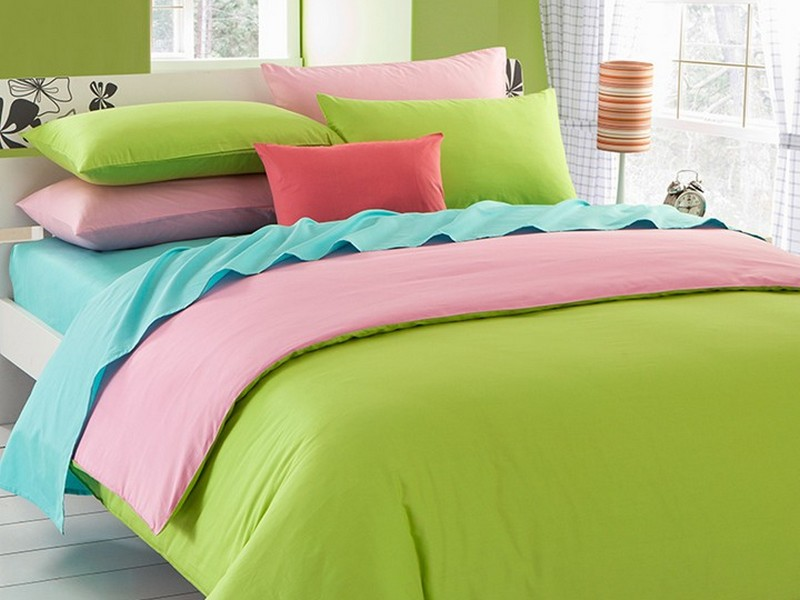Pink And Lime Green Duvet Cover