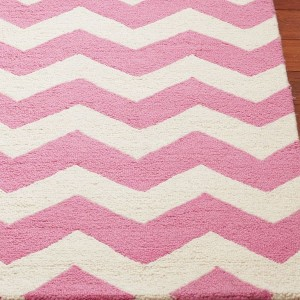 Pink And White Chevron Rug