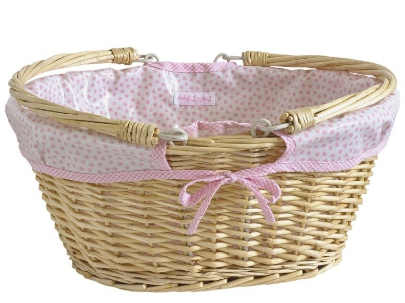 Pink Lined Wicker Baskets