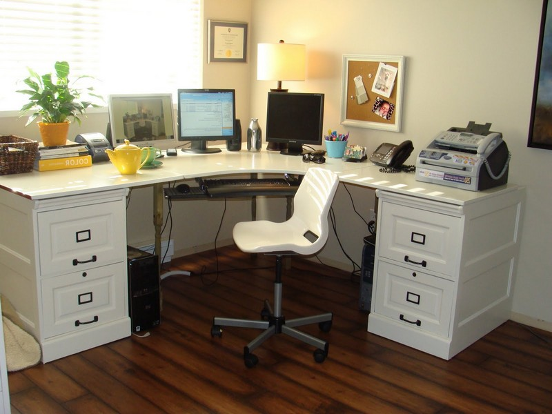 Pottery Barn White Corner Desk