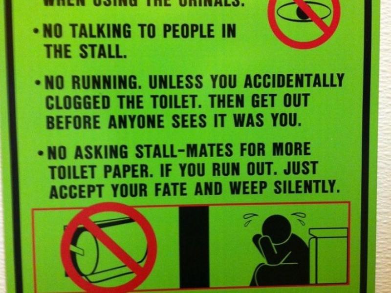 Public Bathroom Etiquette Signs