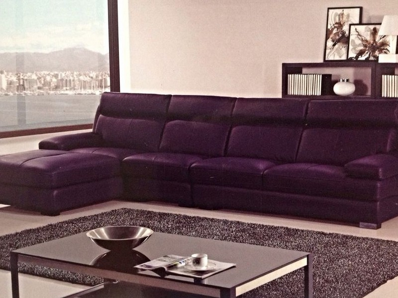 Purple Leather Sectional Sofa