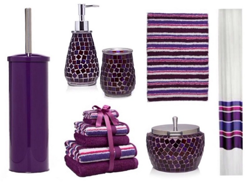 Purple Mosaic Bathroom Accessories