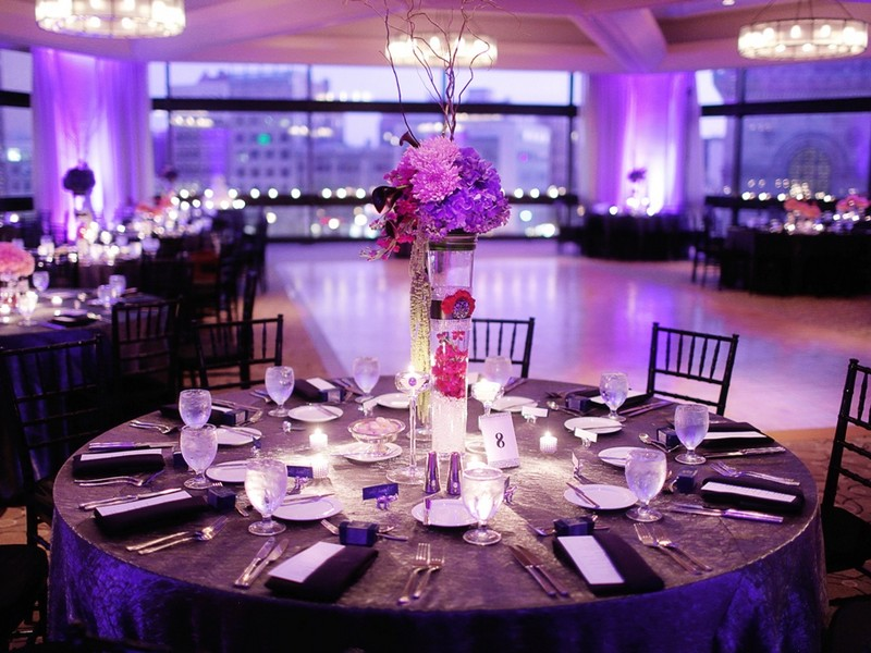 Purple Table Linens For Weddings