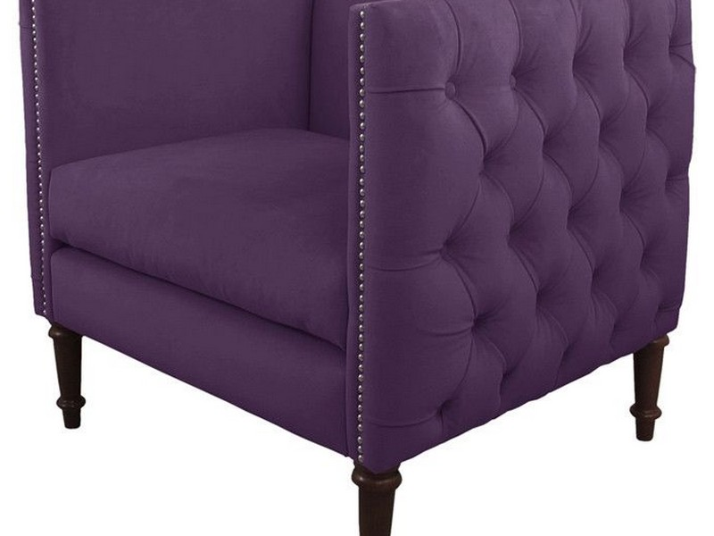 Purple Tufted Accent Chair
