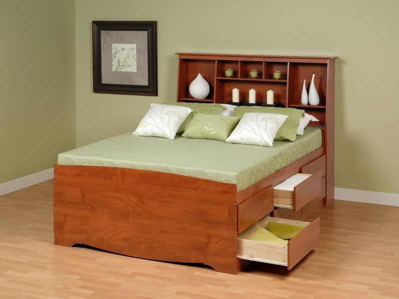 Queen Bed With Storage Drawers And Bookcase Headboard