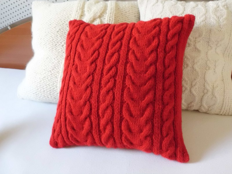 Red Cable Knit Pillow Cover