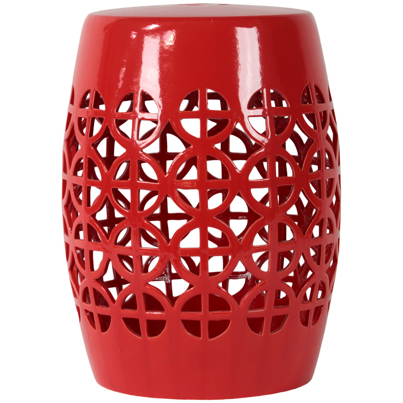 Red Garden Stool Ceramic