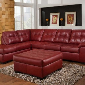 Red Leather Chaise Sofa
