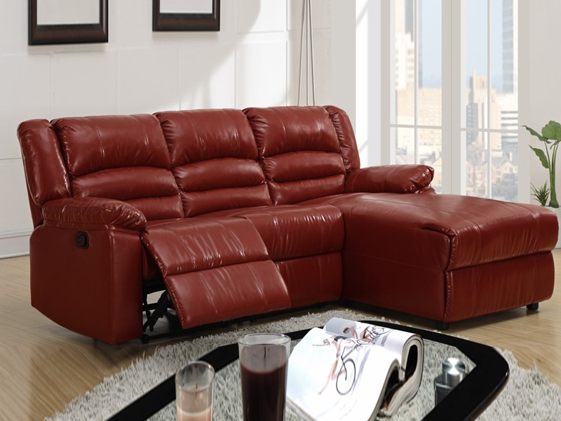 Red Leather Sectional Sofa With Recliners