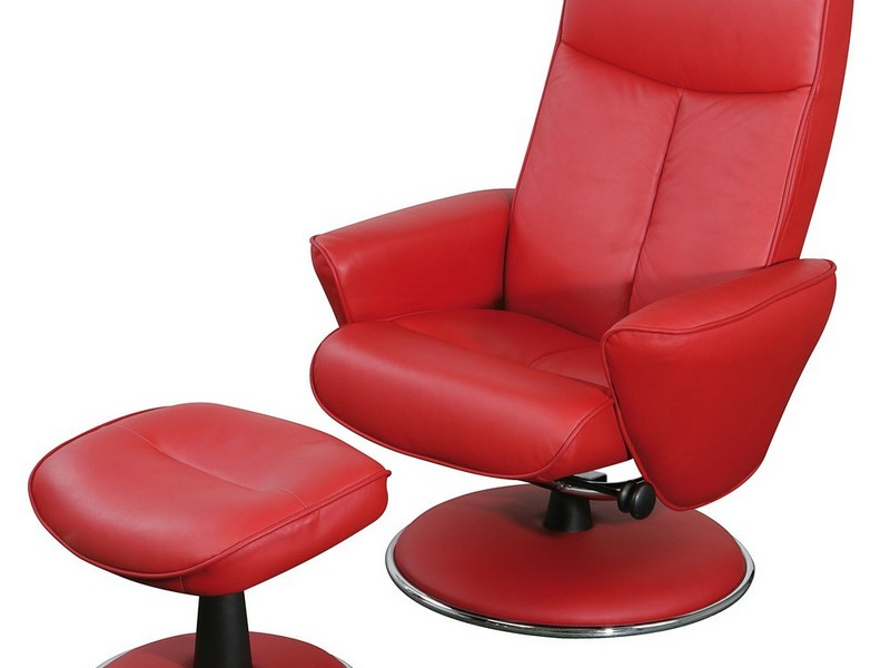 Red Leather Swivel Recliner Chair