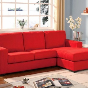 Red Microfiber Sectional