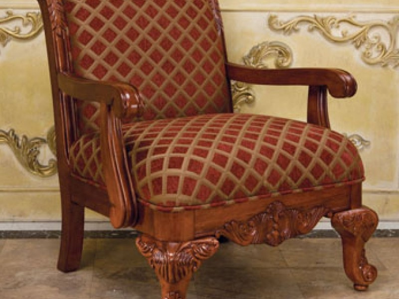 Red Patterned Accent Chair