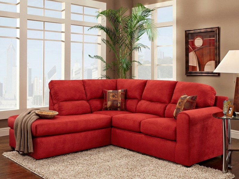 Red Reclining Sofa Microfiber