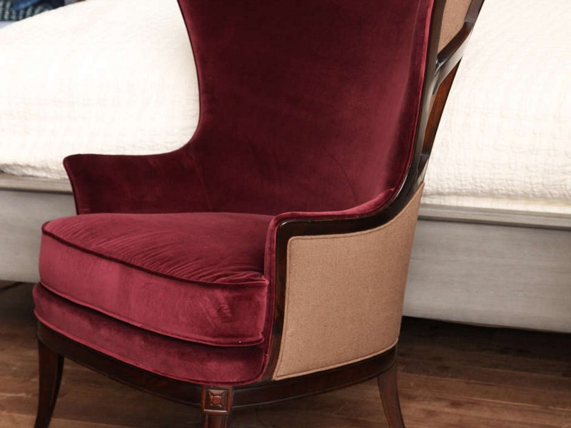 Red Velvet Wingback Chair