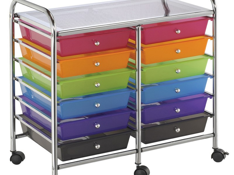 Rolling Storage Cart With Drawers