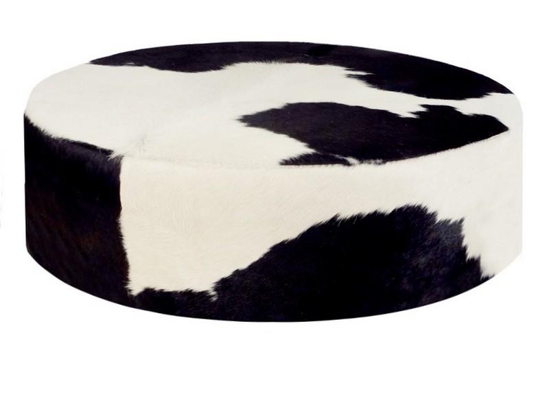 Round Cow Print Ottoman