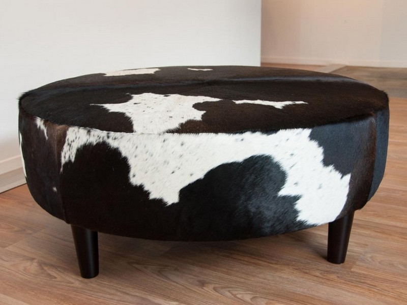 Round Faux Cowhide Ottoman