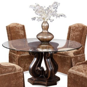 Round Glass Top Pedestal Dining Table