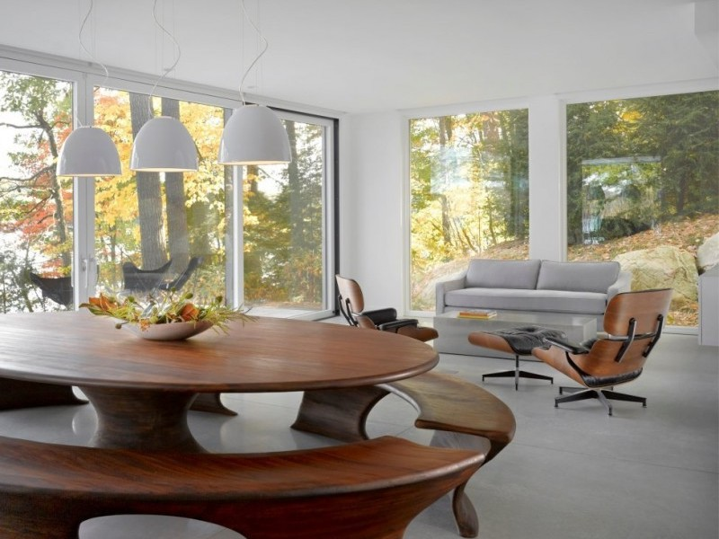 Oval Dining Table Curve Shaped Bench Bowl Pendant Lamps Eames Lounge Chairs