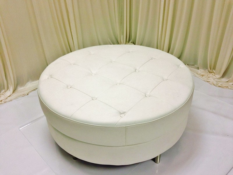 Round Leather Ottomans