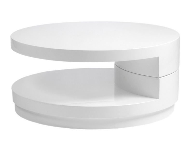 Round White Cottage Style Coffee Table