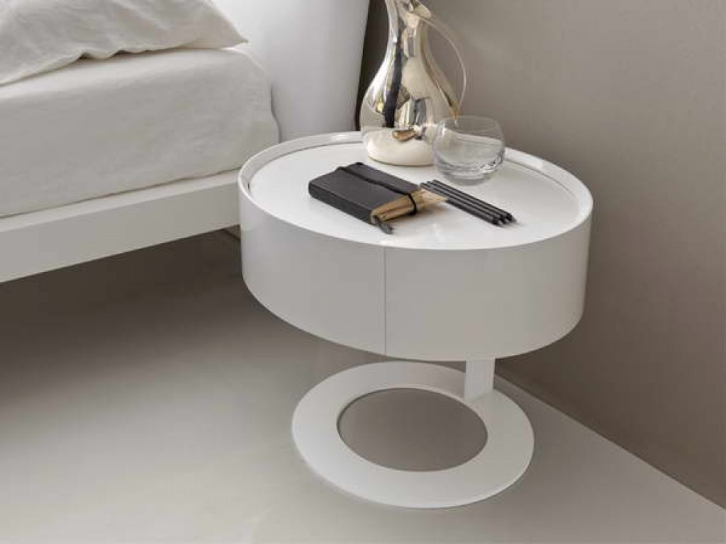 Round White Nightstand Table