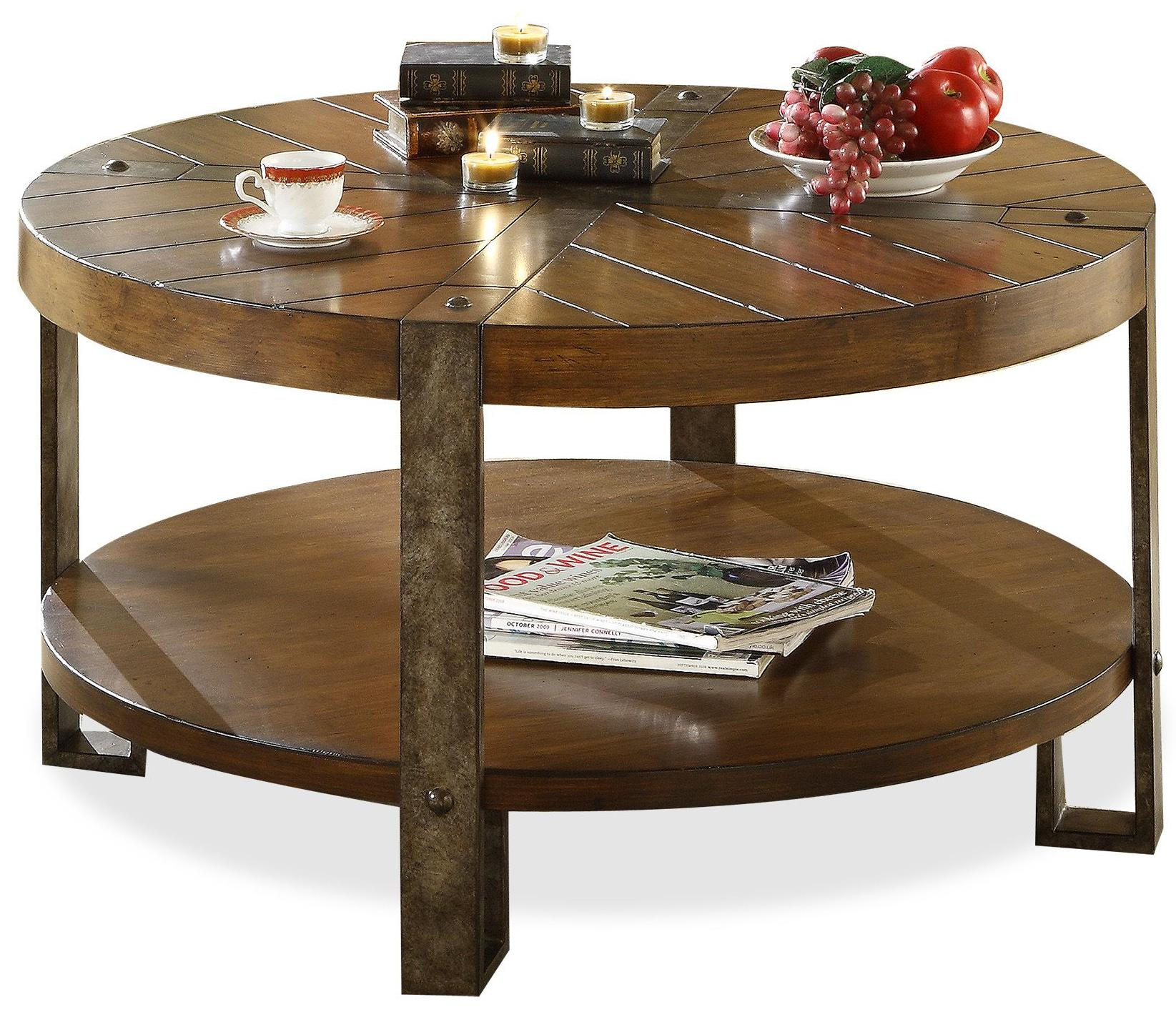 Round Wood And Iron Coffee Table