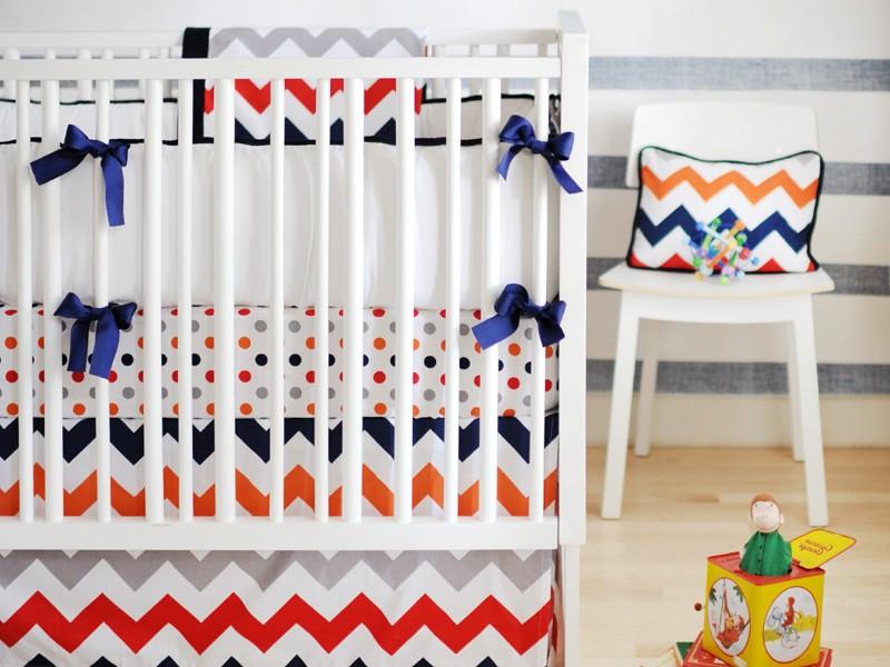 Rugby Stripe Crib Bedding