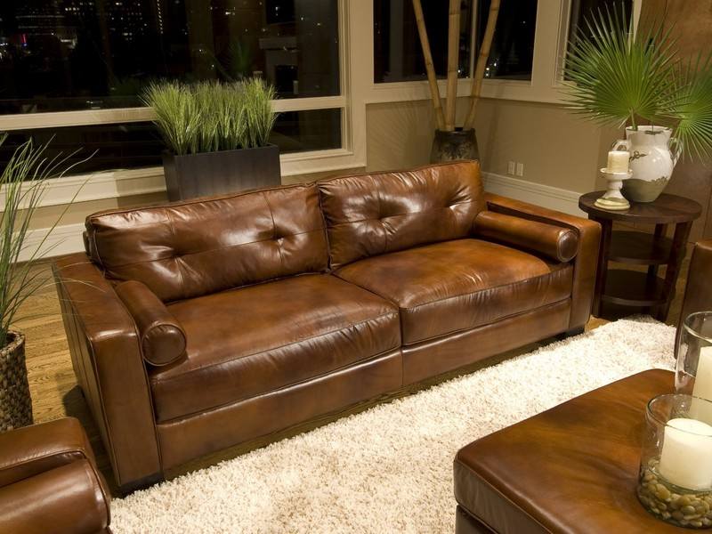 Rustic Brown Leather Couch