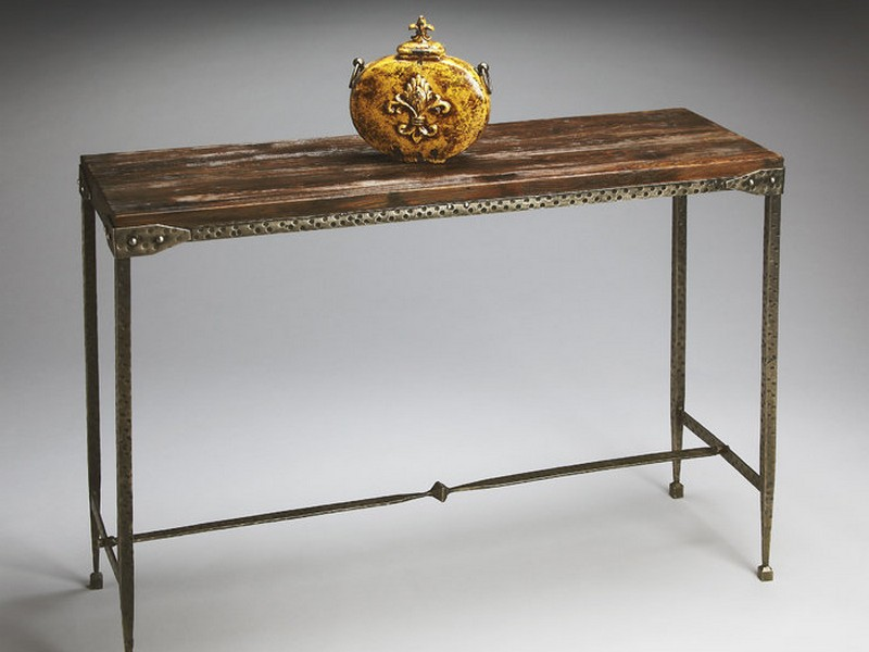 Rustic Metal And Wood Console Table