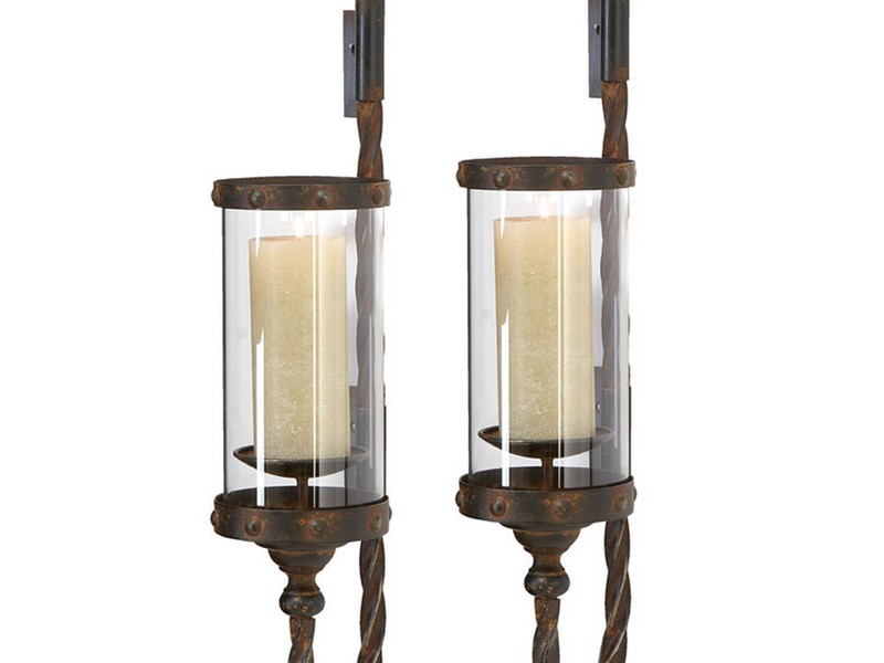 Rustic Metal Candle Wall Sconces