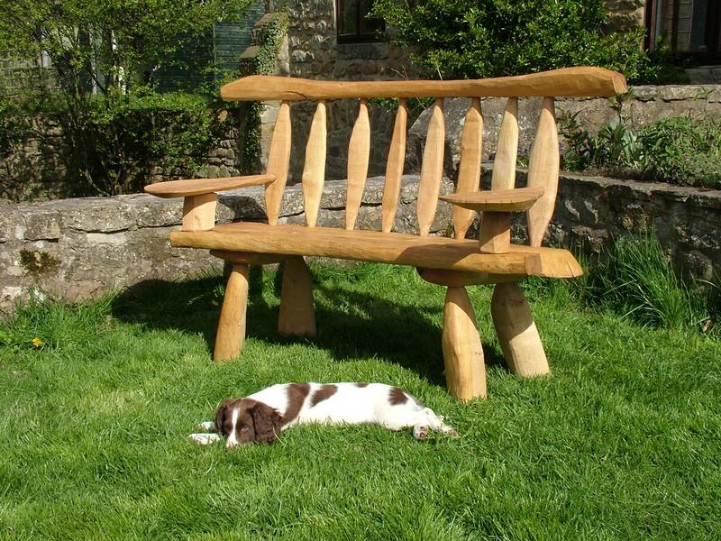 Rustic Oak Benches Outdoor