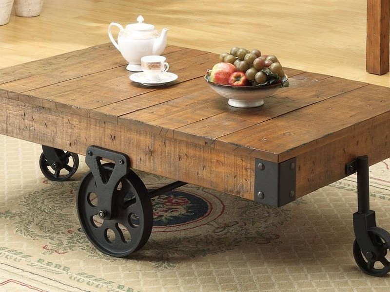 Rustic Wood Coffee Table With Wheels