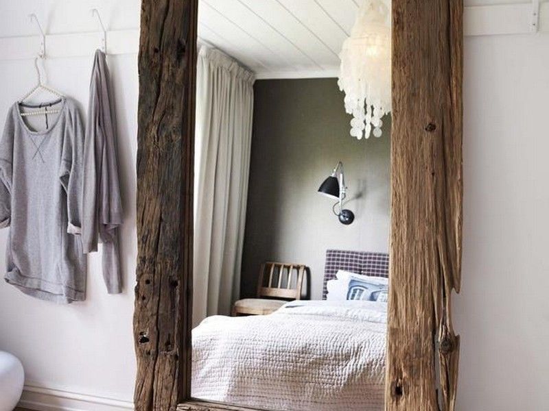 Rustic Wood Floor Mirror