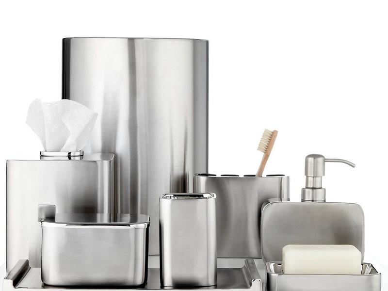 Silver Bathroom Wastebasket