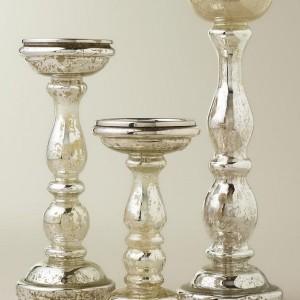 Silver Mercury Glass Pillar Candle Holders