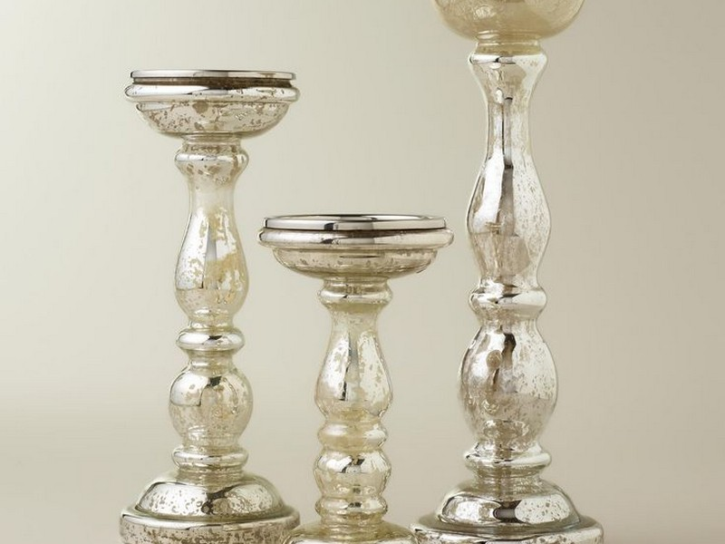 Silver Mercury Glass Pillar Candle Holders